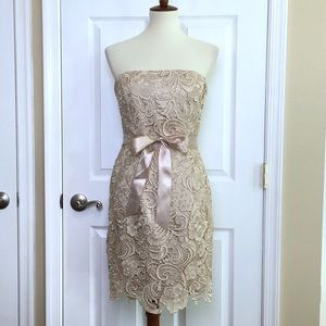 Adrianna Papell Beige Lace Strapless Dress Size 6